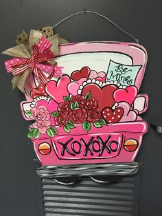 I Painted This Pink Truck Door Hanger With A Valentine Theme E2 9d A4 Ef B8 8f