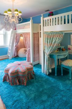Turquoise Room Ideas - Well, exactly how regarding a touch of turquoise in your room? Establish your heart to see it since this short article will offer you turquoise room ideas. Modern Bunk Beds, Cool Bunk Beds, Bunk Beds With Stairs, Small Bunk Beds, Small Futon, Bunk Bed With Desk, Bunk Beds For Girls Room, Big Girl Rooms, Kid Beds