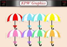 Rainbow Umbrellas Clip-art Set in a PNG format. Personal & Small Commercial use Clipart Images, School Projects, Umbrellas, Commercial, Clip Art, Rainbow, Colours, Invitations, This Or That Questions