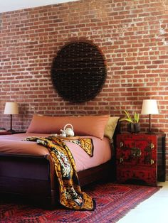 Brainstorming for the exposed brick wall in my bedroom in my new apartment! Bedroom Exposed Brick Design, Pictures, Remodel, Decor and Ideas Asian Bedroom, Bedroom Red, Modern Bedroom, Bedroom Loft, Artistic Bedroom, Oriental Bedroom, Master Bedroom, Oriental Rugs, Trendy Bedroom
