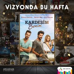 """Başrollerinde Murat Boz, Burak Özçivit ve Aslı Enver'i izleyeceğimiz """" Kardeşim Benim"""" vizyona girdi! #vizyondabuhafta #arcadiumsinema"""