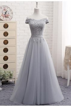Custom Made Luscious 2019 Prom Dresses A-Line Gray Lace Off The Shoulder Tulle Lace-up Sweetheart Prom Dress Prom Dresses, Lace Prom Dress, 2019 Prom Dress, Custom Prom Dress, Prom Dress A-Line Prom Dresses 2019 Senior Prom Dresses, A Line Prom Dresses, Tulle Prom Dress, Beautiful Prom Dresses, Cheap Prom Dresses, Pretty Dresses, Lace Dress, Tulle Lace, Party Dress
