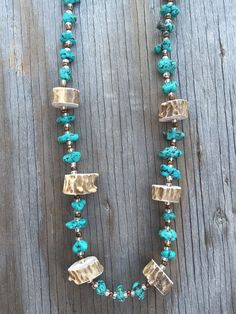 Chunky Turquoise and Deer Antler Necklace