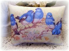 Vintage From french Chic Bluebirds Old Postcard by kristyschicboutique