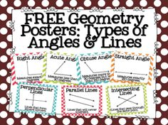 FREE Geometry Posters: Types of Angles & Lines. Perfect for Math Word Walls! Math Resources, Math Activities, Fun Math, Geometry Activities, Math Math, Math Games, Teaching Geometry, Teaching Math, Teaching Ideas