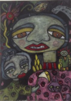 Naive Art : By Karin Dempsey Greenwood : Oils on water colour paper. Vibrant Colors, Colours, Different Media, Naive Art, Watercolor, Portrait, Faces, Painting, Pen And Wash