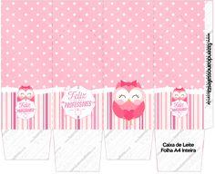Caixa de Leite Dia dos Professores Corujinha Rosa