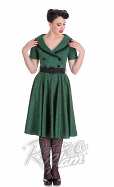 Retro Glam - Hell Bunny Mimi Dress in Green and Black Polka Dot