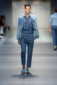 I have been wanting it, and finally it's in the runway! All denim suit -even the shirt! @ Ermanno Scervino ss14 mens, milan fashion week