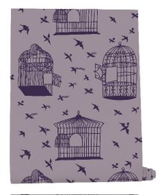 Our Adventure Wallpaper Collaboration with Mini Moderns. by illustrator Rob Ryan Rob Ryan, Bird Wallpaper, Bird Cages, Green And Purple, Lilac Grey, Designer Wallpaper, Surface Design, Color Inspiration, Collaboration