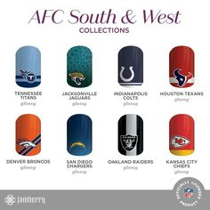 #AFC #Titans #Jaguars #Colts #Texans #Broncos #Chargers #Raiders #Chiefs  #NFL #nailart #football  https://tracijams.jamberry.com/us/en/shop/shop/for/nail-wraps?collection=collection%3A%2F%2F1143