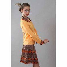 Unique orange shirt and flower pattern skirt vintage style , price 40 euro  with shipping worldwide shipping