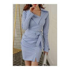 Rotita Flare Sleeve Front Slit Stripe Print Mini Dress ($44) ❤ liked on Polyvore featuring dresses, blue, blue striped dress, short sleeve dress, flared sleeve dress, blue long sleeve dress and bell sleeve dress