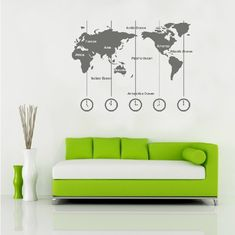 [TYPE] Map Wall Decals, World Map Wall Decals, Continents Wall Decals [COLOR] Shown as the pic [SIZE] Whole visual dimension: 100*75 cm (W*H) [WHAT'S IN THIS SET] * 6 Continents * 5 Clocks with lines * Letters