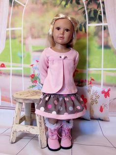 "Pretty Pink T-Shirt and Matching Skirt for Kidz N Cats 18"" Slim Dolls  Bin 4 #DollswithClothingAccessories"