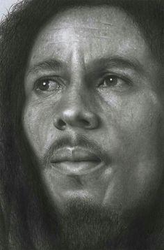 Bob Marley hyperrealistic pencil drawing
