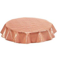 Slightly Imperfect Round Oilcloth Tablecloth in Gingham Orange