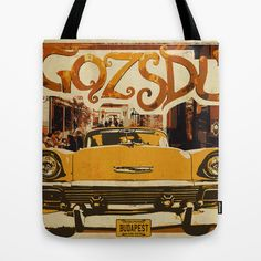 Retro design of Gozsdu Passage with a car Tote Bag Shop: https://society6.com/product/retro-design-of-gozsdu-passage-with-a-car_bag#26=197 Design by András Balogh Ruin Pub District, Budapest retro design series