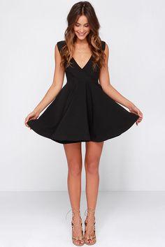 All the Right Moves Black Skater Dress at Lulus.com!