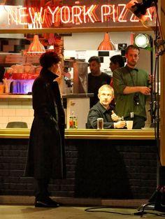 Benedict Cumberbatch shoots Sherlock in London 8/28/13