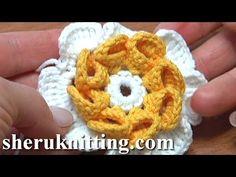 Crochet Folded Petal Flower Tutorial 57 Part 1 of 2 Fiori all'Uncinetto con bottoni usati Freeform Crochet, Irish Crochet, Crochet Motif, Crochet Lace, Crochet Flower Tutorial, Crochet Flower Patterns, Crochet Decoration, Knitted Flowers, Crochet Videos