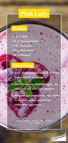 """Dein Winter braucht etwas Farbe?  Mit unserer """"Pink Lady""""zaubert ihr euch einen Frühlingsgruß direkt in euren Shake. #almased #fragalma #pinklady #shake #obst #gesunderezepte"""