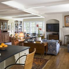 Canary Cottage - traditional - spaces - philadelphia - Archer & Buchanan Architecture, Ltd. - couch arrangement with folding table Cottage Dining Rooms, Cottage Kitchens, Living Rooms, Family Rooms, Living Spaces, Drop Leaf Table, Remo, Sofa Tables, Dining Tables