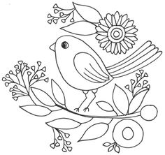 Free Quilling Patterns, Embroidery Patterns Free, Cross Stitch Embroidery, Machine Embroidery, Embroidery Designs, Spring Coloring Pages, Yarn Flowers, Flower Quilts, Bird Design