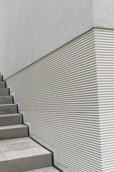 Section Drawing Architecture, Architecture Building Design, Concrete Architecture, Facade Design, Architecture Details, Interior Architecture, Stone Wall Design, Cladding Materials, Concrete Facade