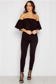 Lola Black Bardot Top & Trouser Set