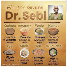 Alkaline Electric Grains🌾for the Alkaline Plant Base Diet 🌱🌿🍃 Alkaline Diet Recipes, Raw Food Recipes, Vegan Food, Healthy Grains, Healthy Eating, Dr Sebi Nutritional Guide, Dr Sebi Diet, Dr Sebi Recipes, Electric Foods