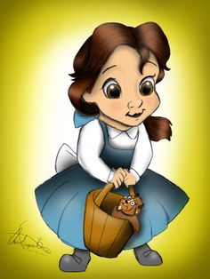 "Little Belle by Daviskingdom.deviantart.com on @deviantART - Third in a series showing Disney girls as children: Belle from ""Beauty and the Beast"". Aw...she's got a little Beast plushie!"