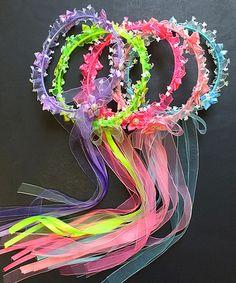 Another great find on #zulily! Pink & Blue Flower Halo Headband Set #zulilyfinds
