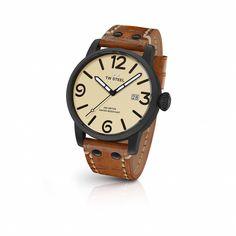 FREE US SHIPPING. TW Steel MS41 Men's Watch 45mm Black PVD Case Camel Vintage Leather Strap. Authorized Retailer.