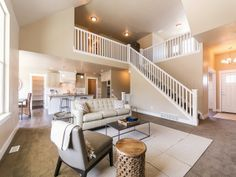 Beautiful balcony looking over the great room. Great Rooms, Custom Homes, Balcony, Stairs, Houses, Entertaining, Future, Building, Places