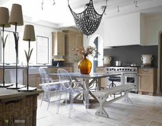 Chair Transparant Concrete Flooring Charming Black Chandelier Table Exciting Kitchen Design Rustic Bench Cute Yellow Vase Fantastic Ideas