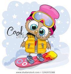 Cute cartoon Owl on a snowboard. Cute cartoon Owl Girl on a snowboard on a blue background royalty free illustration Owl Cartoon, Cartoon Girl Drawing, Cartoon Kids, Cartoon Drawings, Cute Cartoon, Illustration Mignonne, Funny Illustration, Funny Kid Drawings, Cute Drawings