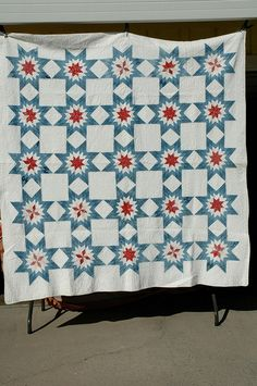 Patriotic quilt - maybe set blocks on point, with sashing.