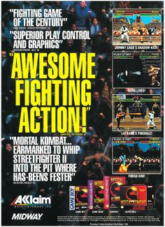 Mortal Kombat Gameboy, Game Gear, Nintendo, Sega ad. #Gaming