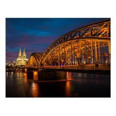 Hohenzollern Bridge Cologne Germany Postcard - postcard post card postcards unique diy cyo customize personalize