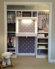 An adorable closet with a built in changing table, cute and functional! Credit unknown... - Home Decor For Kids And Interior Design Ideas for Children, Toddler Room Ideas For Boys And Girls