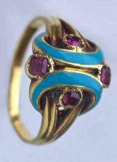 RENAISSANCE REVIVAL Ring. Gold, enamel, ruby. French, c.1860.