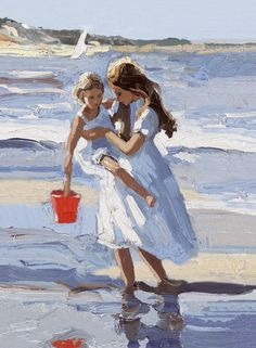Sherree Valentine Daines- Seaside Days II, Sherree's unique charm is clearly evident in this classic Daines painting.