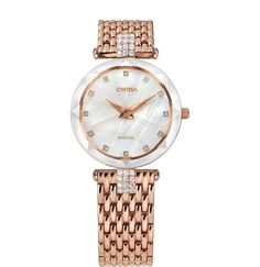 Rose-gold watches for women have eternal style, especially this Swiss-made wrist watch with a beautiful white mother-of-pearl dial. It has a good-size 30mm diameter and twinkling rhinestone indices to bring a little sparkle to each hour. The rose-golden mesh band on this ladies watch adds a sophisticated finish to whatever you are wearing. #ladieswatch #rosegold #SwissMade #Jowissa Stainless Steel Bracelet, Stainless Steel Case, Mesh Band, Rose Gold Watches, Rose Gold Plates, Fashion Watches, Lady, Diamond Cuts, Bracelet Watch