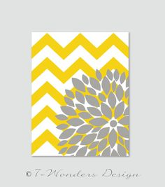 "Flower Bursts Botanical Print with Chevrons -11"" x 14"" //Yellow and Grey // Digital Fine Art Modern Wall Art Prints Home Decor on Etsy, $22.00"