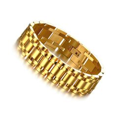 Fashion accessorise 316l surgical stainless steel bracelet with18k gold plated for men