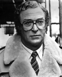 Michael Caine in White Fur Coat With Eyeglasses Photo by Movie Star News