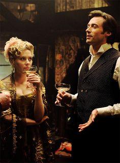 Scarlett Johansson and Hugh Jackman in The Prestige