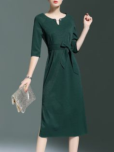 Shop Midi Dresses - Green A-line 3/4 Sleeve Spandex Bow Midi Dress online. Discover unique designers fashion at StyleWe.com.