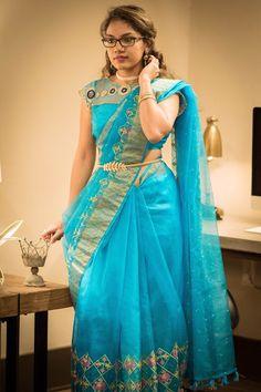 Drape your Sari with a Twist, Saree, Indian Outfits, Belted Drape Saree Blouse Neck Designs, Half Saree Designs, Fancy Blouse Designs, Bridal Blouse Designs, Saree Draping Styles, Saree Styles, Blouse Styles, Kalamkari Dresses, Saree Models